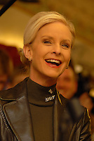 Cindy McCain, wife of Republican presidential hopeful John McCain, reacts while he speaks to supporters, Feb. 20, 2008, at Young's Jersey Dairy in Yellowsprings, Ohio (Ron Humphrey/PressPhotoIntl.com)