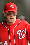 2 September 2012: Washington Nationals' rookie outfielder Bryce Harper prepares to face the visiting St. Louis Cardinals at Nationals Park in Washington, DC. The Nationals edged out the Cardinals 4-3, capping their 4-game series with three wins. Mandatory Credit: Ed Wolfstein Photo