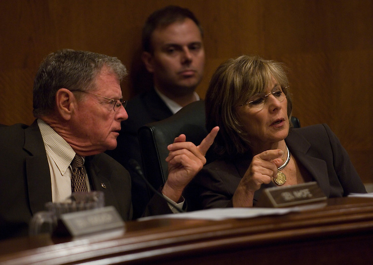 WASHINGTON, DC - August 06: Ranking member James M. Inhofe, R-Okla., and Chairwoman Barbara Boxer, D-Calif., during the Senate Environment and Public Works hearing on climate change.  (Photo by Scott J. Ferrell/Congressional Quarterly)
