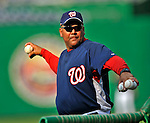 11 July 2008: Washington Nationals' Bullpen Coach Rick Aponte tosses batting practice prior to a game against the Houston Astros at Nationals Park in Washington, DC. The Nationals shut out the Astros 10-0 in the first game of their 3-game series...Mandatory Photo Credit: Ed Wolfstein Photo