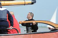 ZEILEN: FRIESLAND: 30-09-2013, SKS Skûtsjesilen, De 33-jarige Alco Reijenga uit Lemmer wordt de nieuwe schipper op het Heerenveense skûtsje de Gerben van Manen, ©foto Martin de Jong