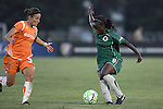 22 July 2009: Eniola Aluko (right) of Saint Louis Athletica is defended by Julianne Sitch (left) of Sky Blue FC.  Saint Louis Athletica defeated the visiting Sky Blue FC 1-0 in a regular season Women's Professional Soccer game at Anheuser-Busch Soccer Park, in Fenton, MO.