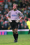 Andy Goram snoozing during another quiet game at Celtic Park