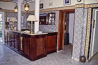 Ceramics, La Marsa, Tunisia.  Nabeul Tiles Decorate Lobby of Hotel Corniche.