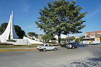 Traffic roundabout or glorieta on Avenida Tulum in downtown, Cancun, Quintana Roo, Mexico.