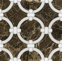 Cary, a stone water jet mosaic, shown in Thassos, Calacatta Tia, and Emperador Dark, is part of the Ann Sacks Beau Monde collection sold exclusively at www.annsacks.com