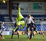 Ross County v St Johnstone&hellip;..30.04.16  Global Energy Stadium, Dingwall<br />Scott Fox tips David Wotherspoon&rsquo;s free kick over the bar<br />Picture by Graeme Hart.<br />Copyright Perthshire Picture Agency<br />Tel: 01738 623350  Mobile: 07990 594431
