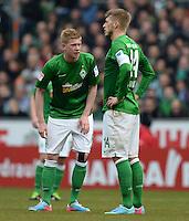 FUSSBALL   1. BUNDESLIGA   SAISON 2012/2013    28. SPIELTAG SV Werder Bremen - FC Schalke 04                          06.04.2013 Kevin De Bruyne (li) und Aaron Hunt (re, beide SV Werder Bremen) sind enttaeuscht