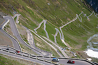 Cars on The Stelvio Pass, Passo dello Stelvio, Stilfser Joch, on the route to Bormio, in the Eastern Alps in Northern Italy