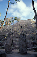 Person climbing Structure VII at the Mayan ruins of Calakmul, Campeche, Mexico. Calakmul is located in the 7,231.85 square km Calakmul Biosphere Reserve, which was established in 1989. Calakmul was made a UNESCO World Heritage Site in 2002.
