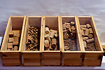 A display of the stages to making wine bottle corks, in the barrel room at Barboursville Vineyards.