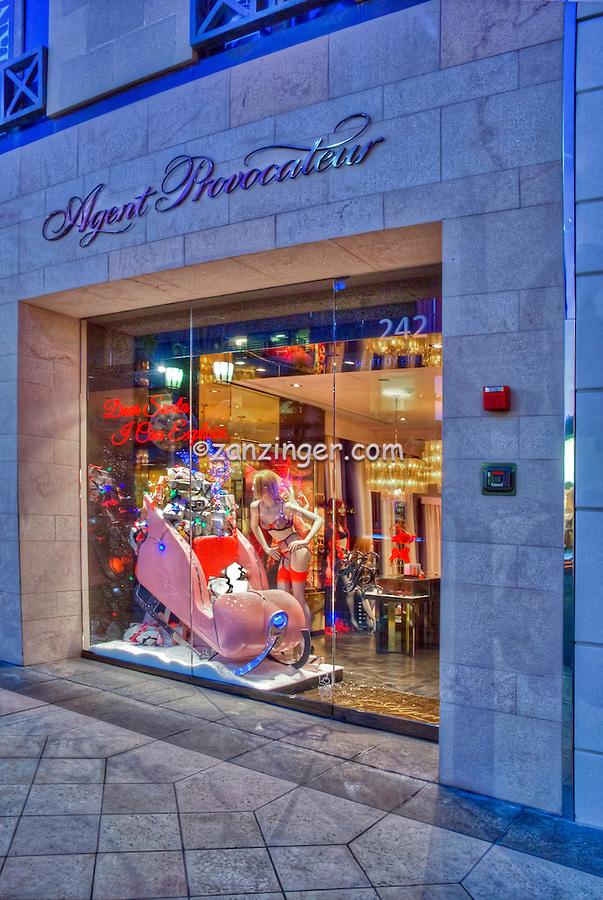 Agent Provocateur, Boudoir Beverly Hills CA; Rodeo Drive; Luxury Shopping; boudoir night wear, beach wear, footwear, luggage , Vertical image