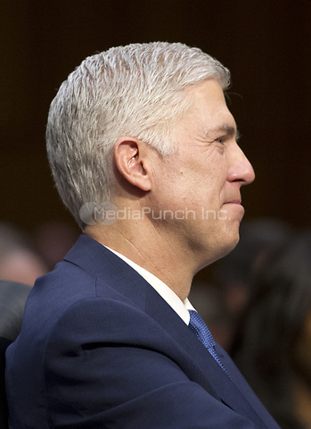 Judge Neil Gorsuch testifies before the United States Senate Judiciary Committee on his nomination as Associate Justice of the US Supreme Court to replace the late Justice Antonin Scalia on Capitol Hill in Washington, DC on Monday, March 20, 2017.<br />Credit: Ron Sachs / CNP / MediaPunch<br />(RESTRICTION: NO New York or New Jersey Newspapers or newspapers within a 75 mile radius of New York City)