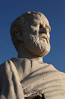 Head of a modern statue of Aristotle, 384-322 BC, Greek philosopher, at the town entrance of Assos, Turkey. The city was founded from 1000 to 900 BC by Aeolian colonists from Lesbos. Aristotle (joined by Xenocrates) went to Assos, where he was welcomed by King Hermias, and opened an Academy in this city, where he led an influential group of philosophers. Picture by Manuel Cohen