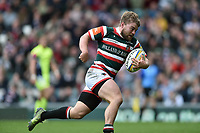 Jack Roberts of Leicester Tigers runs in a second half try. Aviva Premiership match, between Leicester Tigers and Sale Sharks on April 29, 2017 at Welford Road in Leicester, England. Photo by: Patrick Khachfe / JMP