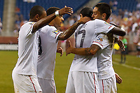 7 June 2011: USA Men's National Team forward Juan Agudelo (9), midfielder Jermaine Jones (13) and forward Jozy Altidore (17) congratulate Clint Dempsey (8) on his goal in the second half during the CONCACAF soccer match between USA and Canada at Ford Field Detroit, Michigan.