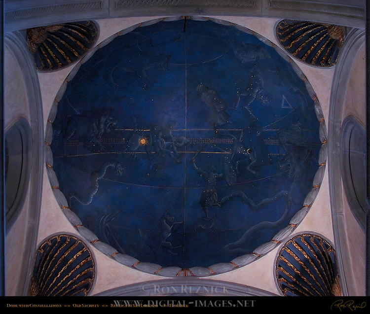Grisaille Dome with Constellations d'Arrigo Old Sacristy Basilica di San Lorenzo Florence