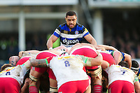 Taulupe Faletau of Bath Rugby at a scrum. Aviva Premiership match, between Bath Rugby and Harlequins on February 18, 2017 at the Recreation Ground in Bath, England. Photo by: Patrick Khachfe / Onside Images
