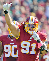 Washington Redskins outside linebacker Ryan Kerrigan (91) celebrates a first quarter sack against Philadelphia Eagles quarterback Carson Wentz (11) at FedEx Field in Landover, Maryland on Sunday, October 16, 2016.<br /> Credit: Ron Sachs / CNP /MediaPunch