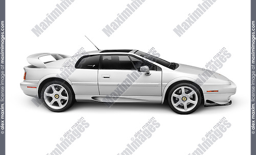Silver 1997 Lotus Esprit V8 sports car isolated on white background with clipping path