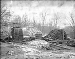 Frederick Stone negative. Water wheel in Hamilton Park, foundation of old factory. Undated photo