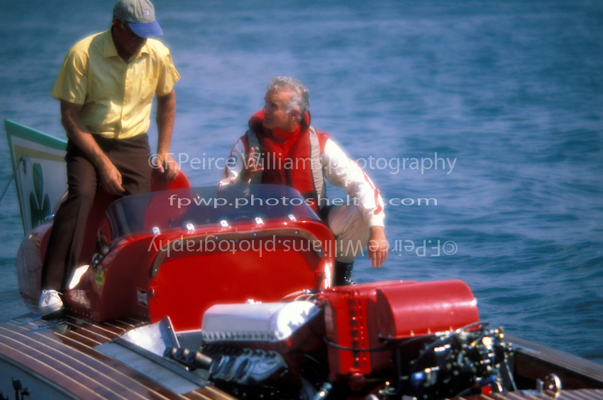 "Driver Ken Muskatel talks with a crewman on the deck of the ""U-7 Notre Dame""...On the set of the movie ""MADISON"". Madison, IN USA 6 September, 1999."