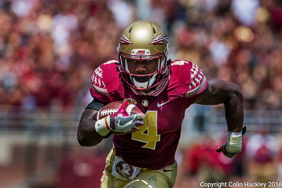TALLAHASSEE, FLA 9/10/16-Florida State's Dalvin Cook runs for 13-yards against Charleston Southern's Troy McGowens during first quarter action Saturday at Doak Campbell Stadium in Tallahassee. <br /> COLIN HACKLEY PHOTO