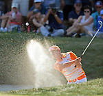 Rickie Fowler hits out of a bunker on the 7th hole during the Deutsche Bank Championship golf tournament at TPC Boston golf course in Norton on Monday, September 07, 2015. Photo by Christopher Evans
