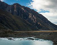 Terminal lake of Tasman Glacier with icebergs, Aoraki Mount Cook National Park, UNESCO World Heritage Area, Mackenzie Country, New Zealand, NZ