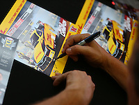 Jul 8, 2016; Joliet, IL, USA; Detailed view as NHRA funny car driver Del Worsham signs autographs during qualifying for the Route 66 Nationals at Route 66 Raceway. Mandatory Credit: Mark J. Rebilas-USA TODAY Sports