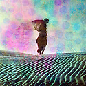 Abstract female figure in desert dune. Photo based illustration.