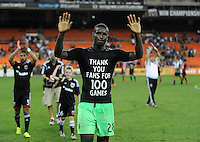 Washington D.C. - July 21, 2014:  Bill Hamid (28) of D.C. United thanks the fans celebration his 100 games. D.C. United defeated the Chivas USA 3-1 during a Major League Soccer match for the 2014 season at RFK Stadium.