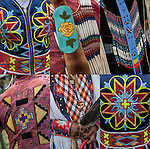 Close up of Native American Pow Wow Regalia. Examples of ethnic pride, heritage and traditional Native folk art crafts.<br />