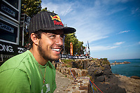 ADRIANO DE SOUZA (BRA)   MUNDAKA, Euskadi (Monday, October 5, 2009) - The Billabong Pro Mundaka, Event No. 8 of 10 on the 2009 ASP World Tour, completed the opening eight heats of Round 1 today in clean three-to-four foot (1 metre) waves at the primary venue...Opting to run the man-on-man elimination Round 1 format, the Billabong Pro Mundaka played witness to some incredible drama today, with surfers fighting for both requalification and solid footing on the ASP World Tour ratings...Kekoa Bacalso (HAW), 24, former ASP World Junior Champion (2005) and 2009 ASP Dream Tour rookie, was the standout on Day 1 of competition, netting the high heat total of a 15.80 out of a possible 20 for a barrage of backhand turns, eliminating wildcard Hodei Collazo (EUK)....The $340,000 USD Billabong Pro Mundaka is the 8th of 10 events on the ASP World Tour (Association of Surfing Professionals), considered as the first league of surfing. The Billabong Pro Mundaka will officially start on October 5th, with the inaugural ceremony, and will run whenever conditions allow until October 17th at the latest...Being held at Europe's best left-hand wave in the fishing village of Mundaka. Mundaka is renowned worldwide for its long and hollow waves barrelling over 200 meters in the mouth of the Guernika river. As last year, the alternate site will be set up on the beach of Sopelana. The site is only a few car-minutes away from the center of Bilbao. The decision to surf either at Mundaka or Sopelana will be taken on a daily basis by the contest director, after assessing the conditions in both sites with the surfers and the ASP officials.  Photo: joliphotos.com