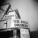 Monochrome Holga carnival image of refreshment stand