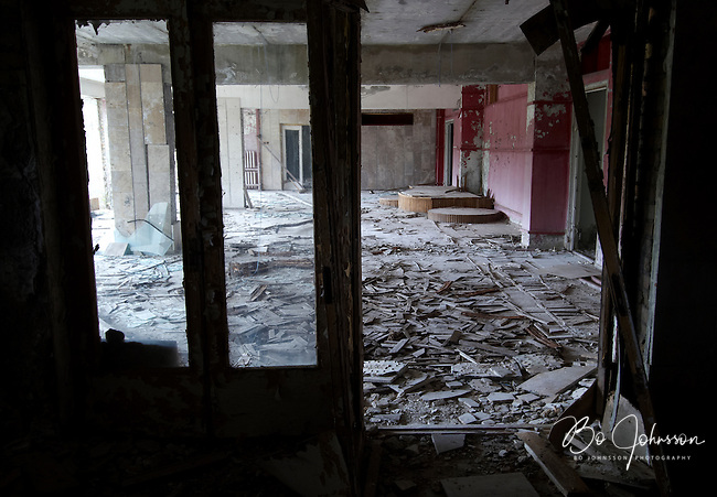 Looting and vandalism in the deserted Hotel Polisye (Polissia?) in Pripyat. <br />