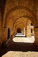 Medieval Hospital of the Knights of St John completed in 1480 which houses the Archeological Museum,  Rhodes, Greece. UNESCO World Heritage Site