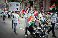 Supporters of the Lok Satta Indian political party march in the Indian Independence Day Parade on Madison Ave. on Sunday, August 18, 2013.  Now in it's 33rd year, the parade celebrates the 66th anniversary of India's partition from British rule on August 15, 1947. (© Richard B. Levine)
