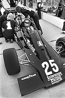 INDIANAPOLIS, IN - MAY 28: Danny Ongais waits to drive his Parnelli VPJ6B/VPJ Cosworth during practice for the Indy 500 at the Indianapolis Motor Speedway in Indianapolis, Indiana, on May 28, 1978.
