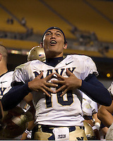 10 October 2007: Navy quarterback Kaipo-Noa Kaheaku-Enhada..The Navy Midshipmen beat the Pitt Panthers 48-45 in double overtime on October 10, 2007 at Heinz Field, Pittsburgh, Pennsylvania.
