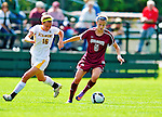 19 September 2010: Colgate University Raider midfielder Maddie Malone, a Junior from Glen Ridge, NJ, in action against University of Vermont Catamount Emily Milbank, a Senior from Shelburne, VT at Centennial Field in Burlington, Vermont. The Raiders scored a pair of second half goals two minutes apart to notch a 2-0 victory over the Lady Cats in non-conference women's soccer play. Mandatory Credit: Ed Wolfstein Photo