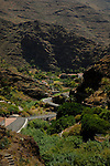Narrow road in the  mountains, Chejelepes, San Sebastian, La Gomera, Canary Islands, Spain