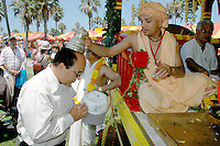 Ishan Krishna, a Monk from Bombay India, gives a blessing to Hare Krishna at Venice Beach on Sunday, Aug 05, 2007, during the 31th Annual Festival of Chariots.