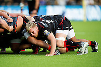 Jackson Wray of Saracens in action at a scrum. Aviva Premiership match, between Saracens and Wasps on October 9, 2016 at Allianz Park in London, England. Photo by: Patrick Khachfe / JMP