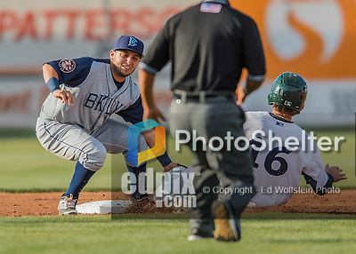 30 July 2016: Brooklyn Cyclones infielder Michael Paez in action against the Vermont Lake Monsters at Centennial Field in Burlington, Vermont. The Lake Monsters defeated the Cyclones 7-1 in NY Penn League play. Mandatory Credit: Ed Wolfstein Photo *** RAW (NEF) Image File Available ***