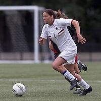 Boston College forward Victoria DiMartino (1) on the attack. Boston College defeated North Carolina State,1-0, on Newton Campus Field, on October 23, 2011.