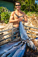 Namotu Island, Fiji (Sunday, June 2, 2013) Joel Parkinson (AUS) with a catch of Spainish Mackerel- Onshore winds and small surf on offer this morning prompted Volcom Fiji Pro event organizers to call a lay day for competition as the remainder of the window is projecting increased surf and improved conditions.<br /> Event No. 4 of 10 on the 2013 ASP World Championship Tour, the Volcom Fiji Pro has brought the world's best surfers to one of the world's most idyllic surfing destinations in the South Pacific. Over the course of the 13-day window, the ASP Top 34 will do battle at the primary venue of Cloudbreak and potentially the secondary venue of Restaurants as this season's hunt for the world surfing crown continues.<br /> ?Only small surf on offer this morning with poor wind conditions,? Rich Porta, ASP International Head Judge, said. ?We've called a lay day for competition and expect improved conditions throughout the remainder of the event window. We'll be back tomorrow morning to make another assessment.?<br />  Photo: joliphotos.com