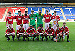 St Johnstone Academy v Manchester Utd Academy&hellip;.06.05.16  McDiarmid Park, Perth<br />The Man Utd team line up before kick off<br />Picture by Graeme Hart.<br />Copyright Perthshire Picture Agency<br />Tel: 01738 623350  Mobile: 07990 594431