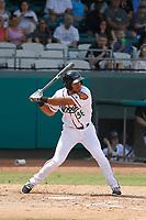 Down East Wood Ducks second baseman Luis La O (36) at bat during a game against the Salem Red Sox at Grainger Stadium on April 16, 2017 in Kinston, North Carolina. Salem defeated Down East 9-2. (Robert Gurganus/Four Seam Images)