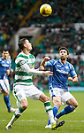 Celtic v St Johnstone...23.01.16   SPFL  Celtic Park, Glasgow<br /> Mickael Lustig and Simon Lappin<br /> Picture by Graeme Hart.<br /> Copyright Perthshire Picture Agency<br /> Tel: 01738 623350  Mobile: 07990 594431